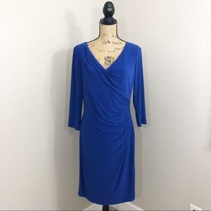 Ralph Lauren Blue Cinched Ruched Dress